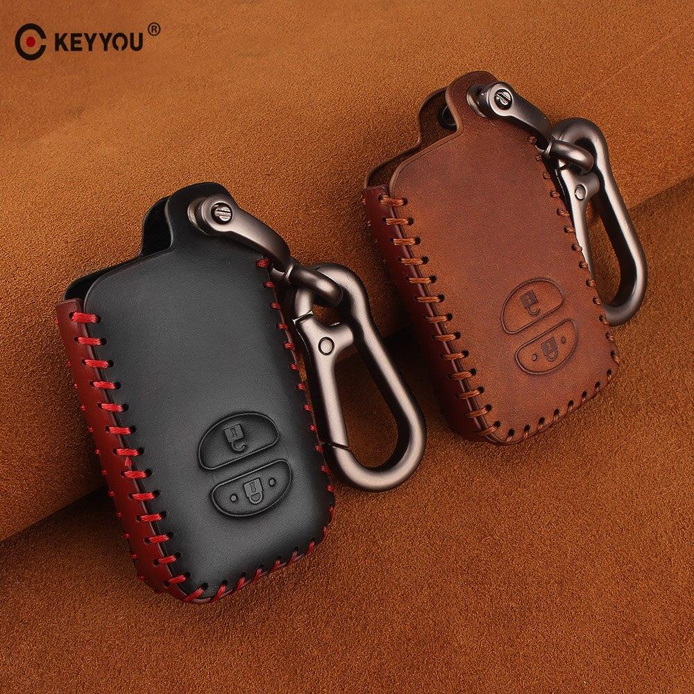 KEYYOU Genuine Leather Remote Car Key Case Cover For Toyota Camry Highlander Crown Prado Land Cruiser Vitz Prius Intelligent