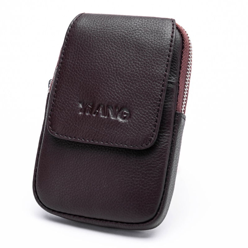 New Men's Genuine Leather Loop Belt Hip Fanny Bags Cell Mobile/Phone Case Cover Male Cowhide Mini Purse Bum Waist Pack Hook Bag