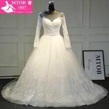 Elegante Kant Trouwjurken A lijn Lange Mouwen Vestidos De Noiva Kralen Verwijderbare Riem op Taille robe de mariage MTOB1764