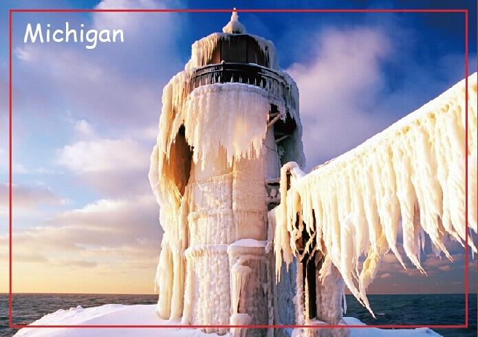 Путешествия магниты на холодильник 78*54 мм, Северной Pier внешний маяк в ул. Йосеф, штат Мичиган, США. Туристический жестких магнитов 20665