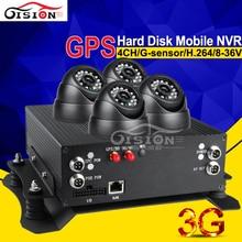 720 P H.264 Автомобильный видеорегистратор с 3G сети GPS трек 4ch g-сеньор обнаружения движения петли Запись mnvr с 4 шт. Камера наушников
