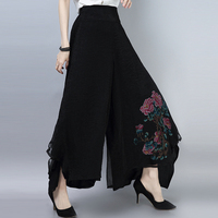 2018 New Ethnic Style Vintage Embroidery Wide Leg Pants High Waist Trousers Women Loose Black Artistic Skirt Trousers