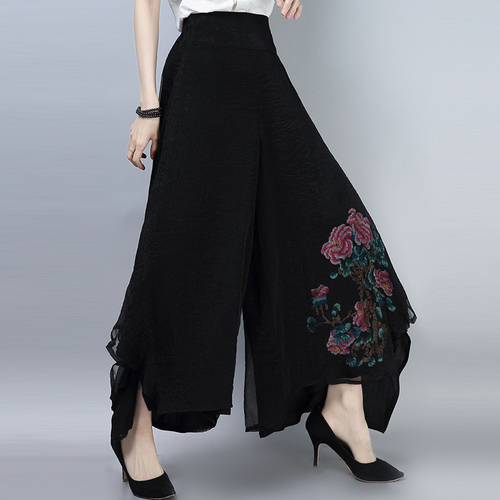 2019 Summer Ethnic Style Vintage Embroidery Wide Leg Pants High Waist Trousers Women Loose Black Artistic White Skirt Pants