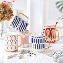 Luxury Fine Bone China Coffee Mug With Lid Spoon British Boss Cup Girl Ornament Wedding Kitchen Drinkware Accessories Decoration