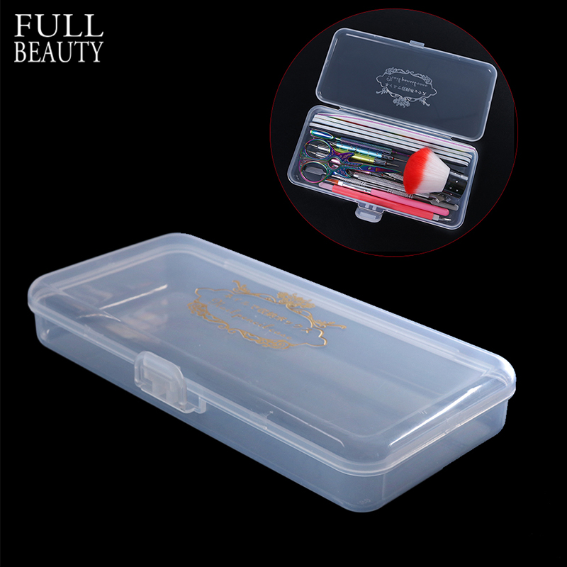 Full Beauty Rectangle Storage Box For Long Nail Files/Brush/Pusher/Scissor Nail Tools Empty Plastic Clear Holder Container CH878