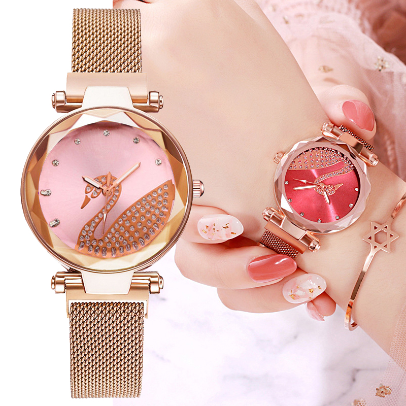 Swan Magnetic Women Watch 2019 Luxury Diamond Quartz Watch For Ladies Bracelet Dress Wristwatch Relogio Feminino Montre Femme