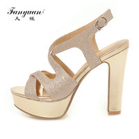Fanyuan Chunky Heels Gladiator Shoes Summer Women Sandals Woman Sandalie Sexy Glitter Ladies Platform Sandals Silver Black