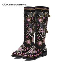 OKTOBER SUNSHINE vrouwen bloemen Nationale wind lederen Rome Klinknagels laarzen Hoge Kwaliteit Gemengde Kleuren Flats schoenen