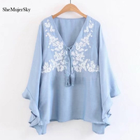 SheMujerSky Women S Denim Shirt Blue Embroidery Floral Womens Tops Flare Sleeve Long Sleeve Chemisier Femme
