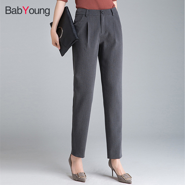 b9e21e76c944 Babyoung Formal Pants for Women Office Lady Style Work Wear Casual Trousers  Female Clothing Business Design