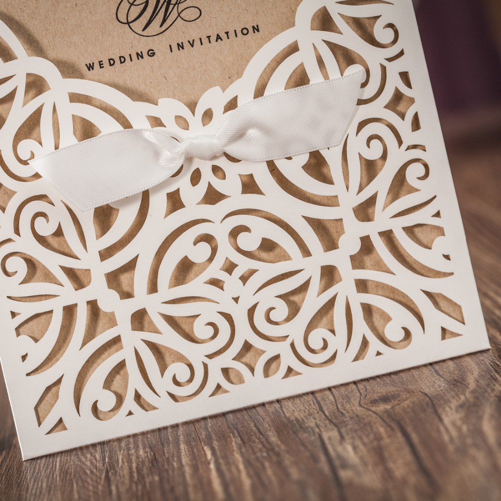 100pcs lot Laser Cut Wedding Invitations Kraft Paper Ivory Shell Party Invitation Elegant Hollow Birthday Card Free Printing in Cards Invitations from Home Garden