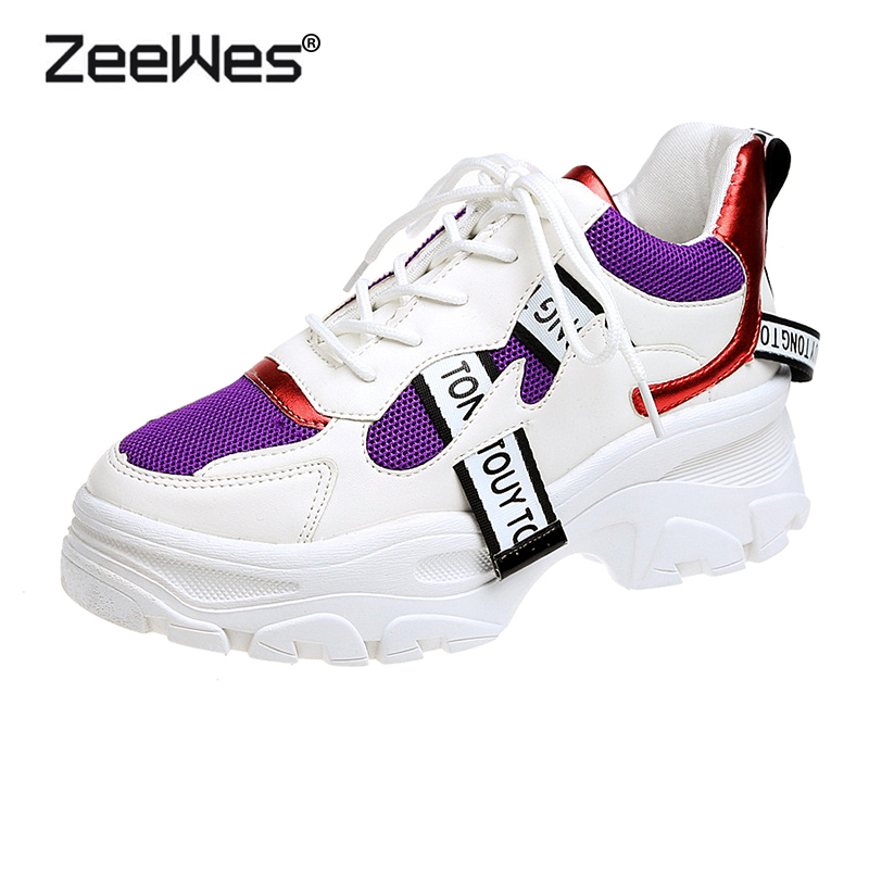 INS Hot Sale 2019New Spring Dad Shoes Woman lace up mixed color Tennis Sneakers Women Soft Athletic Shoes Ladies Tennis Feminino
