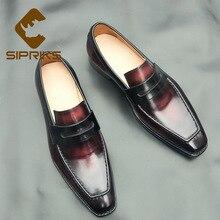 Sipriks/блестящие легкие туфли типа мокасин из натуральной телячьей кожи; цвет красный, черный; Пенни; лоферы в итальянском стиле; ручная работа; Прошитые туфли; обувь без шнуровки