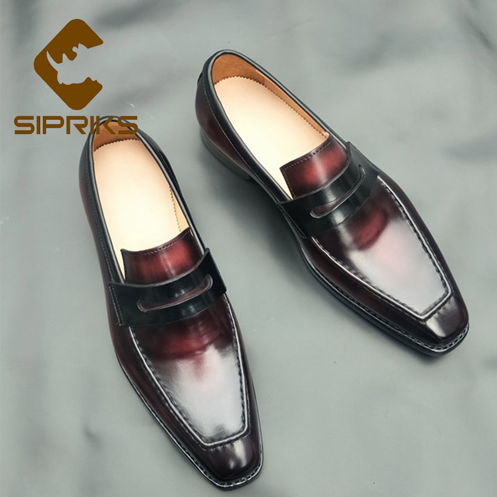 Sipriks Genuine Calf Leather Shiny Loafers Red Black Penny Loafer Italian Handmade Goodyear Welted Dress Shoes Slip On Footwear стоимость