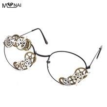 Punk Sunglasses Women Men Metal gear steampunk Vintage Shades Female Eyeglasses Chain Retro Accessories