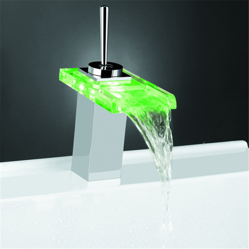 LED Glass Color Waterfall Bathroom Sink Faucet Basin Temperature Mixer Tap
