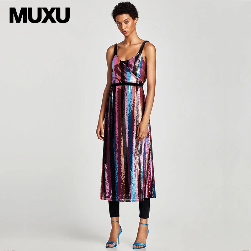 MUXU suspender dress sexy women patchwork sequin jurken vestidos mujer womens  clothing glitter club backless party 239c4656758e