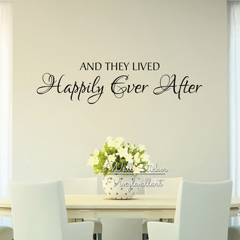 Family Quote Wall Sticker Creative Love Quote Wall Decal And They Lived Happily Ever After DIY Cut Vinyl Removable Decor Q49 image