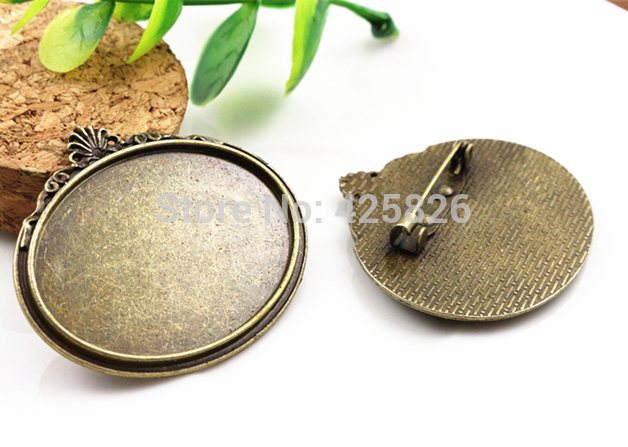 New Fashion  2pcs 30x40mm Inner Size Antique Bronze Pin Brooch Pierced Style Base Setting Pendant (B1-15)New Fashion  2pcs 30x40mm Inner Size Antique Bronze Pin Brooch Pierced Style Base Setting Pendant (B1-15)