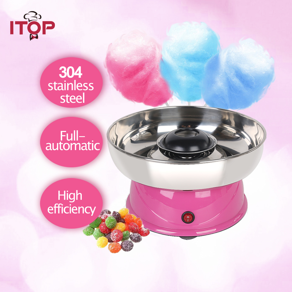 ITOP Cotton Candy Machine Floss Electric Carnival Cotton Sugar Maker For Children Plastic Body Stainless Steel Bowl