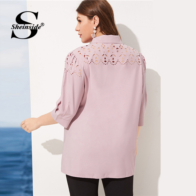 Sheinside Plus Size Pink Hollowed Out Blouse Women 2019 Spring Half Sleeve Blouses Ladies Elegant Solid Bow Tie Neck Top 2