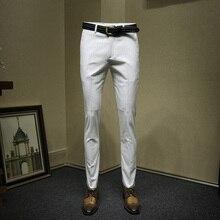 Брюки мужские формальные Бизнес slim fit белый полосатый подарок на день отца свадебная одежда жениха умный повседневный мужской костюм женские укороченные брюки больших размеров
