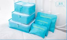 Cute Candy Color 6 pcs Packing Organizer set Travel Cube suitcase Pouch Holder Tidy Luggage Packers Case