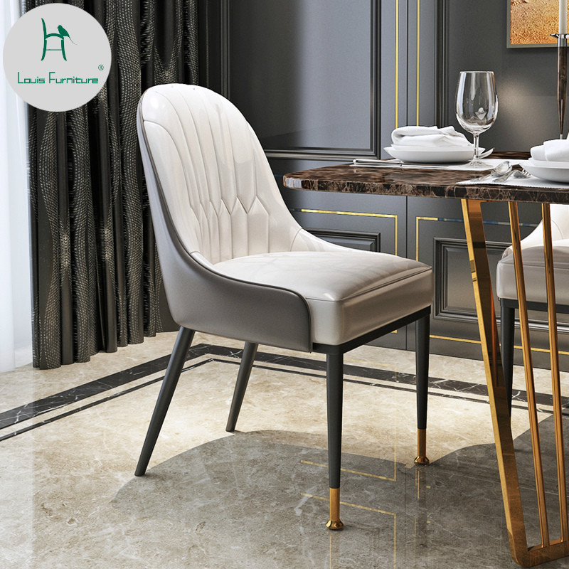 US $220.0 |Louis Fashion Nordic Dining Chair Postmodern Simple Stool  Restaurant Leather Home Leisure Light Luxury American-in Dining Chairs from  ...