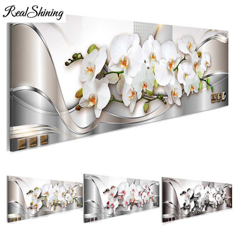 White Orchids Flowers 5d diy diamond painting accessories,full square rhinestone nature embroidery,Mosaic puzzle 5d art FS3228