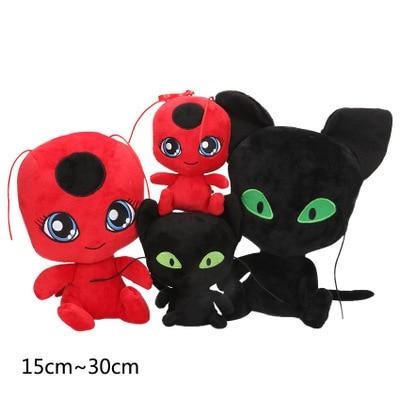 Ladybug Plush Pendant Keychain Toys Plagg And Tikki Cat Noir Lady Bug Adrien Marinette Soft Stuffed Dolls