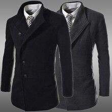 Новая мода зима шерсть отложным воротником однобортный шерстяное пальто slim fit куртки верхняя одежда мужчина случайно куртку пальто пальто