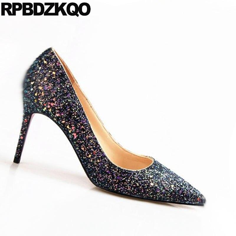 34 Noir Mariée Rose Bout Dames De Piste rose Mariage Taille Glitter Pompes Bling Hauts Talons 4 Pointu Pouces Stiletto Chaussures Coloré Sequin bleu 3 XZuTOkPlwi