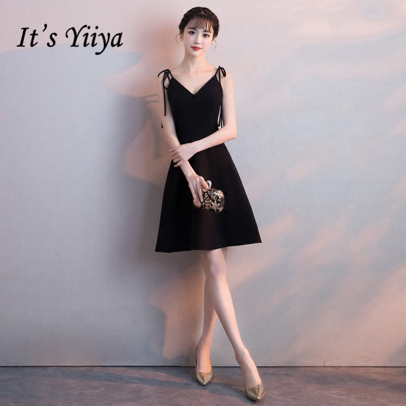 It's YiiYa   Cocktail     Dresses   Little Black Spaghetti Strap Party Formal   Dress   Elegant Bow Knee Length A-line Prom Gowns E299