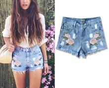 2017 Women's Fashion Vintage ROSE Embroidery Tassel Slim High Waisted Short Jeans Sweet Sexy Hot Woman Denim Shorts S178
