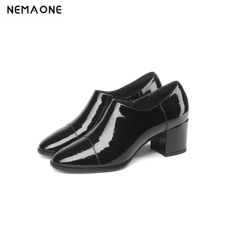 En 2019 Chaussures Grand Nemaone vert Pompes Femmes Bout Cuir De Taille 42 Noir Noir Haute Véritable 43 Nouveau Bleu Talons Printemps Carré wAwSIt