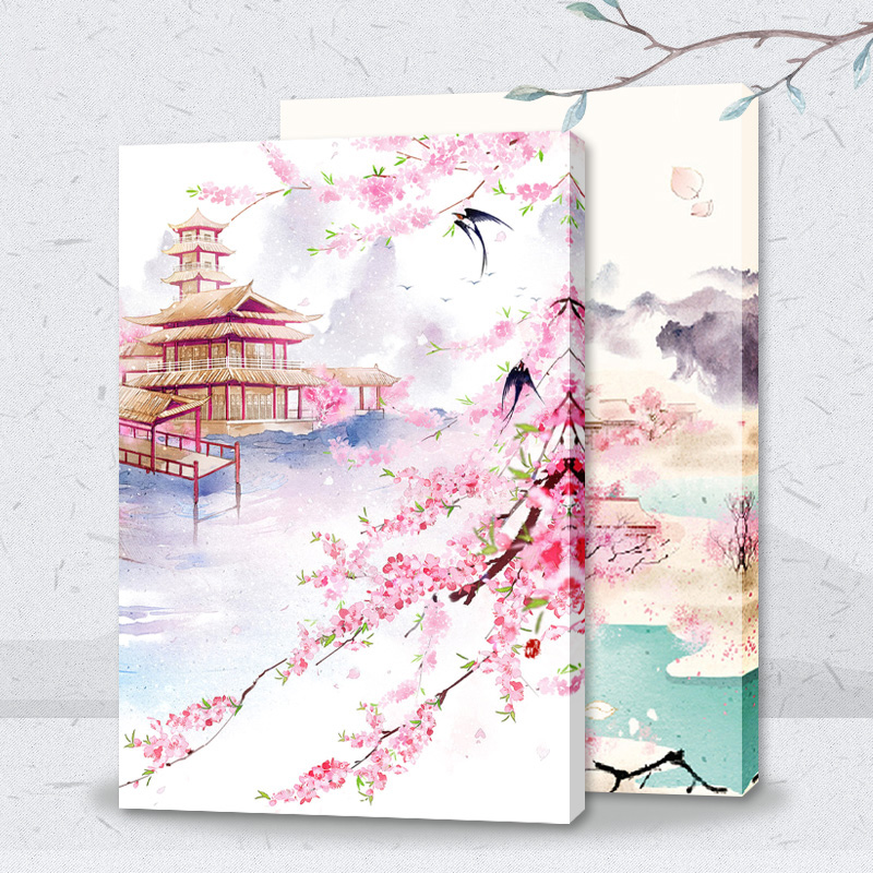Painting By Numbers Art Paint By Number Chinese Ancient City Tower Peach Landscape Costume Paintings By Numbers On Canvas Oil