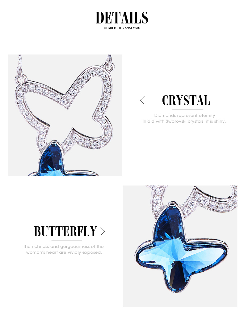 Blue Crystals from Swarovski Butterfly Necklace (5)