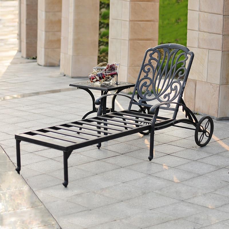 Hot Cast Aluminum Sun Loungers Portable Deck Chair Outdoor Leisure Beach Chiar Garden Chair With Side Table