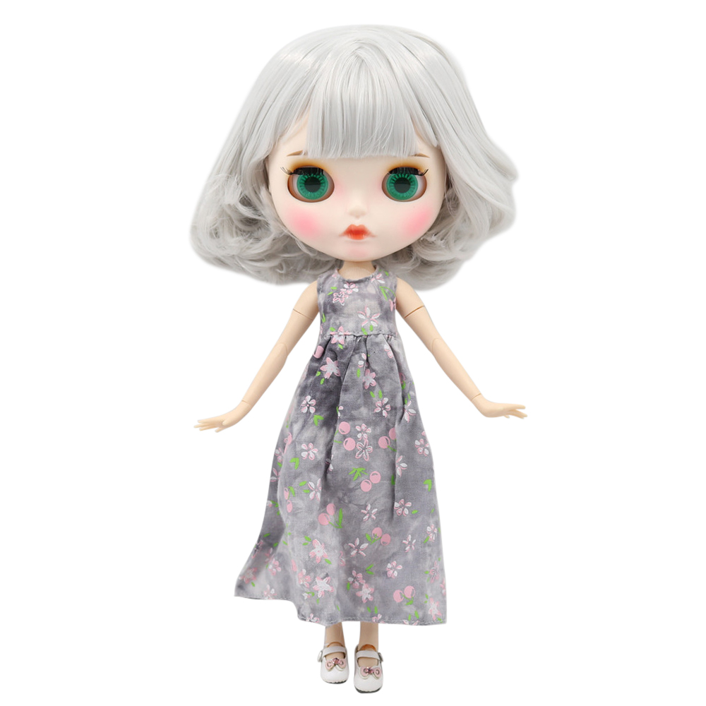 New 1 6 Blyth doll white skin joint body Gray short hair new matte face with