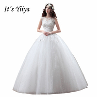 2017 Real Photo Tulle Transparent O Neck Wedding Dresses Cheap Sequins White Bride Gowns Custom Made