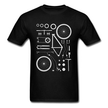 Bike Exploded Structure Round Neck Tshirts Biker Assembly Illustration Men Summer Fall Clothing Shirt 100% Cotton Custom Tees
