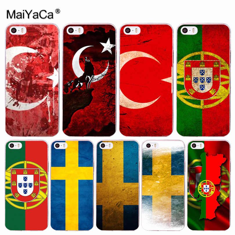 MaiYaCa Ulusal bayrak Türkiye Portekiz moda tasarım cep telefonu Kılıfı için Apple iPhone 8 7 6 6S Artı X 5 5 5S SE 5C 4 4S Cep Telefonları