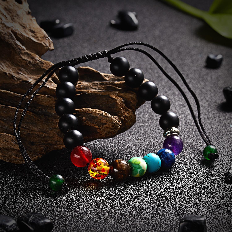 Classic Chakra 8mm Lava Stone Beads 7 Color Chain Bracelets for Women Men Elastic Rope Yoga Fashion A Bracelet Friendship 3