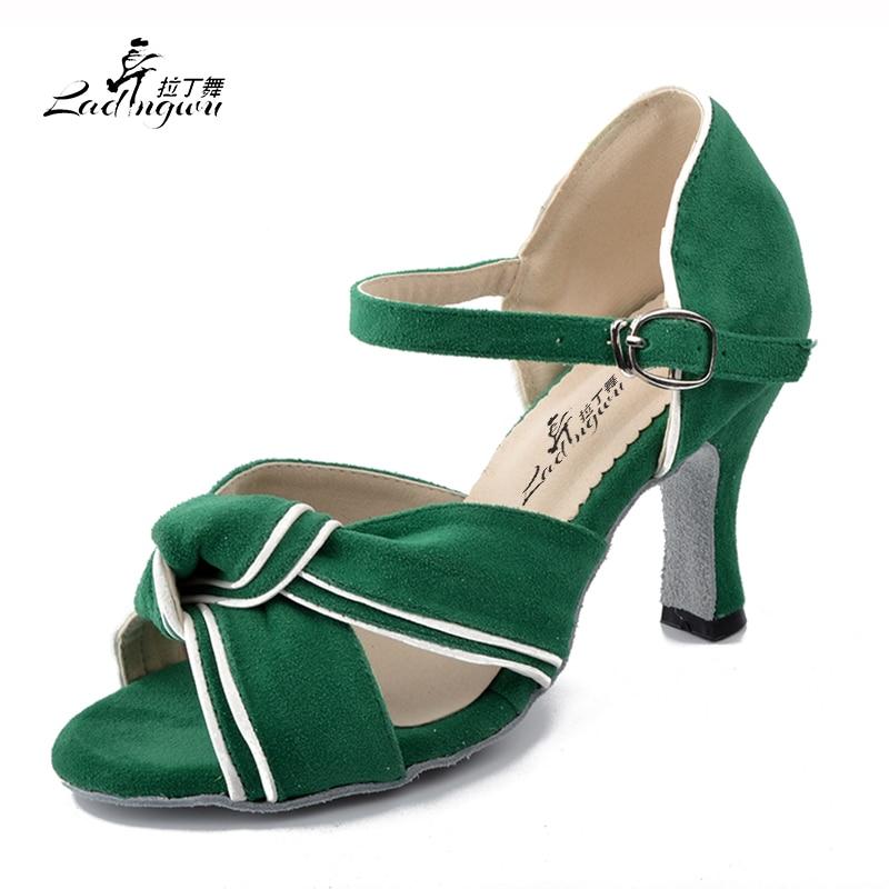 Ladingwu Green Flannel Women's Sandals Ballroom Party Performance Salsa Latin Dance Shoes Heel 6cm/7.5cm/8.3cm Numbering 7127