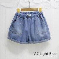 New Arrivals Summer Women Shorts High Waist Stretch Blue Denim Shorts Loose Slim Hole Jeans Casual