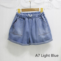 New Arrivals Summer Women Shorts High Waist Stretch Blue Denim Shorts Loose Slim Hole Jeans Casual