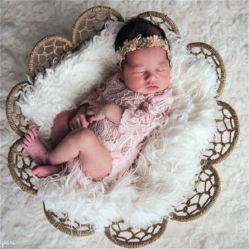 Nyfødte fotografering rekvisitter Cap Broderi Lace Romper Baby Nyfødte Tilbehør Silk Girl Costume Fotograf Photo Shoot Hat