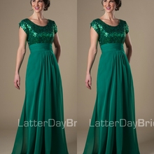 Green Long Modest Bridesmaid Dresses With Sleeves Sequins Ch