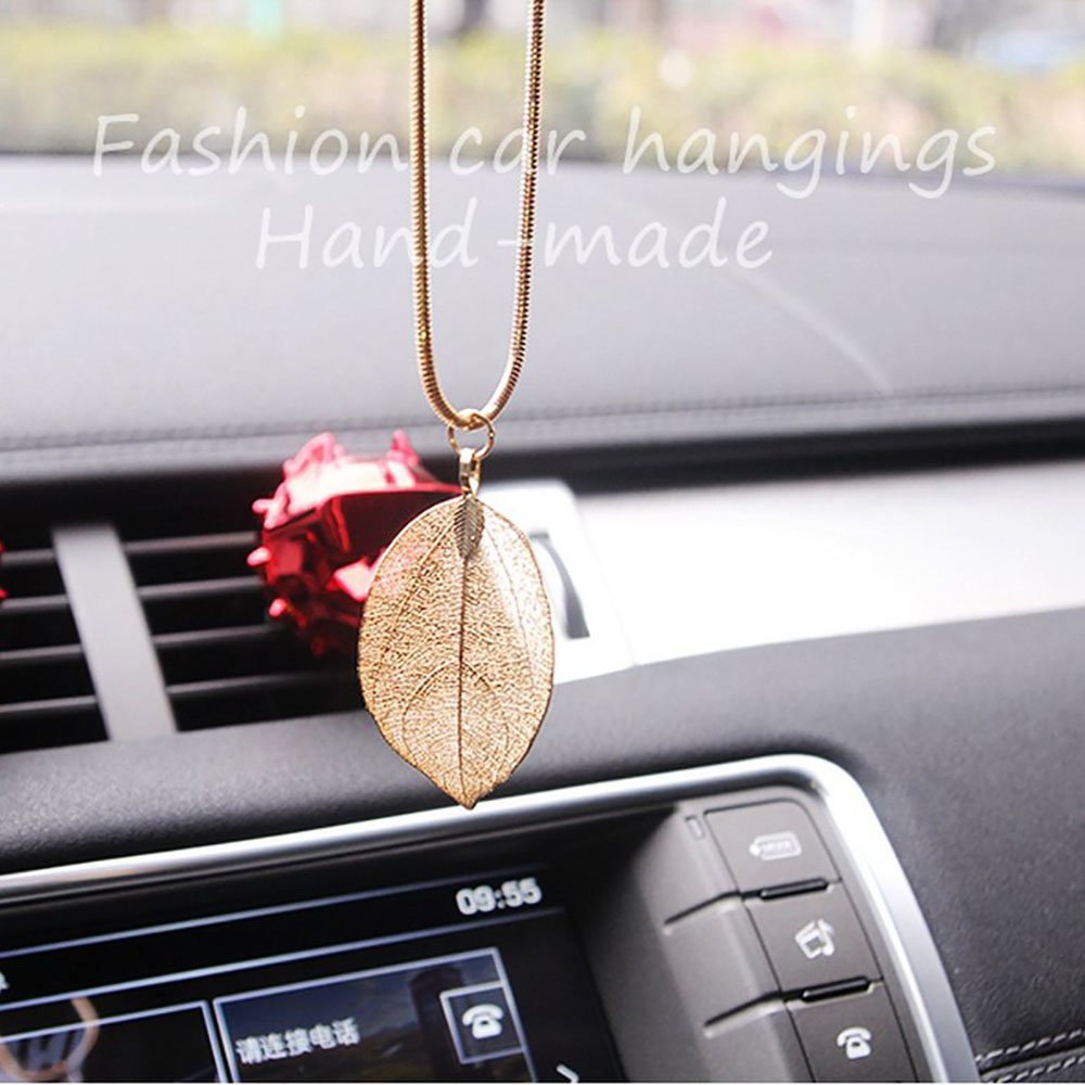 Car pendant alloy leaf car interior hanging rearview mirror female jewelry