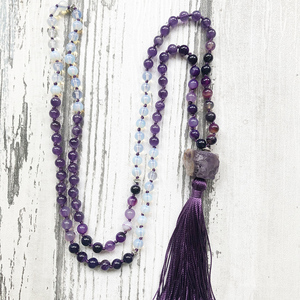 Image 4 - Mala Yoga Jewelry For Women Raw Amethysts Pendant With Purple Tassel Necklace Hand Knotted Rough Stone Necklace For Women Femme